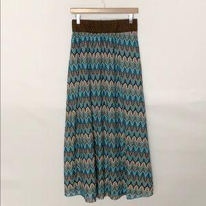 Lapis Boho Knit Maxi Skirt Blue